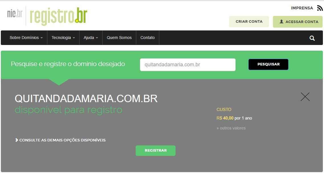 como criar um site wordpress - registro de dominio