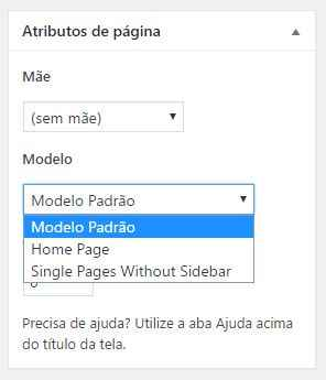 Instalacao do tema Parea WordPress - escolhendo modelo de pagina