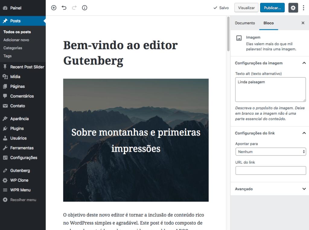 Como Deixar o seu tema pronto para o Gutenberg - visual do novo editor