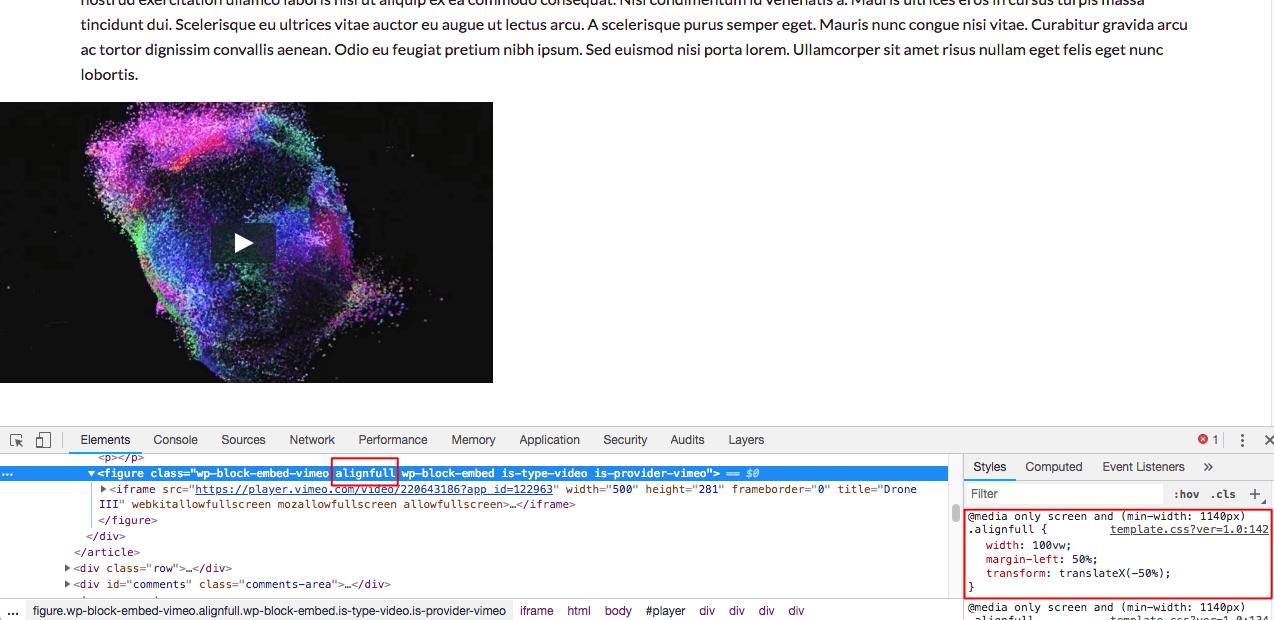 Corrigindo a exibição de vídeos no Gutenberg com FitVids - video não pega largura completa