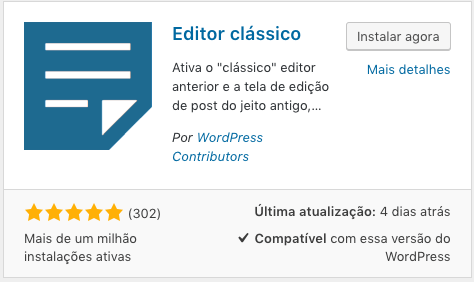 Atualizando o WordPress 5.0 - editor clássico