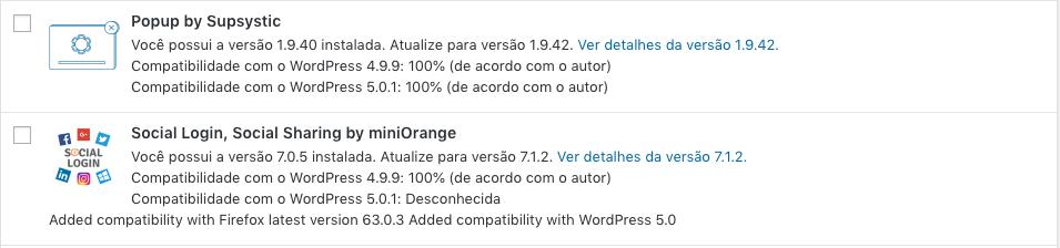 Atualizando o WordPress 5.0 - lista de plugins