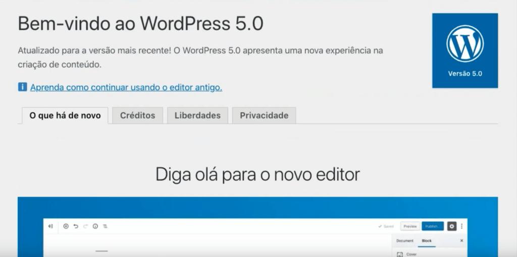 Atualizando o WordPress 5.0 - tela de boas vindas